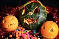 Scary Jack O Lantern halloween pumpkin Stock Photography