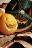 Scary Jack O Lantern halloween pumpkin Royalty Free Stock Photo