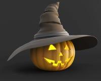 Scary jack o lantern Halloween pumpkin  glowing from the inside Stock Image