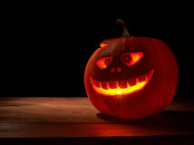 Scary jack o lantern pumpkin composition Royalty Free Stock Photos