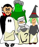 Scary kids in costumes. Kids dressed up for Halloween in scary costumes over white Royalty Free Stock Photos