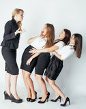 Scary lady boss yelling on managers, white Royalty Free Stock Photography