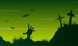 Scary landscape graveyard on Halloween Royalty Free Stock Photo