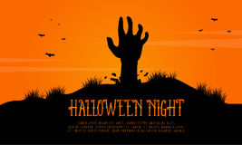 Scary landscape with zombie Halloween Royalty Free Stock Image