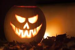 Scary lighted Jack O´Lantern halloween pumpkin