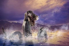 Scary Loch Ness Monster emerging from water. Photo composite of Loch Ness Monster Stock Photography