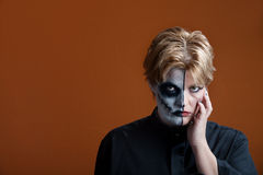 Scary Makeup. Woman wearing a scary makeup for Day of the Dead Royalty Free Stock Image