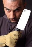 Scary man with cleaver. Portrait of scary man with cleaver stock photo