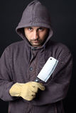 Scary man with cleaver. Portrait of scary man with cleaver royalty free stock photography