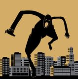 Scary man. Scary creature walking around the city. vector illustration Royalty Free Stock Photography