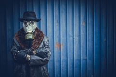 Portrait of man with gas mask. Scary man with gas mask,selective focus and blank space Royalty Free Stock Photography