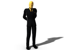 Scary man in mask and suit. Three dimensional illustration of scary or sinister man in evil face mask and suit, isolated on white background Royalty Free Stock Photo