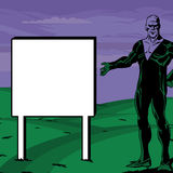 Scary man showing a blank board Royalty Free Stock Photography