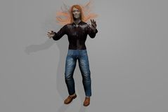 Scary man with wild red hair standing Royalty Free Stock Photography