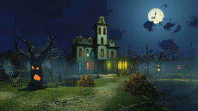 Scary mansion and creepy trees at night stock illustration
