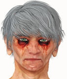 Scary map with gray hair Stock Photo