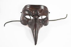 Scary mask. Scary carnival Venice mask - symbol of festival and anonymity - tourist souvenir from Italy, isolated on white royalty free stock photography