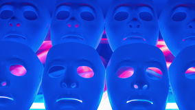 Scary masks blue team. Mystery human face masks team stock video footage