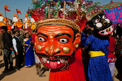 Scary masks of the evil characters on carnival Stock Images