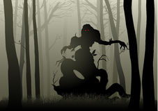 Scary Monster In Dark Woods. Silhouette illustration of a scary monster in dark woods Royalty Free Stock Images