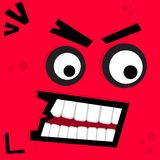 Scary monster face illustration. Illustration of red devil scary monster face Stock Images