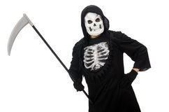 Scary monster with scythe isolated Royalty Free Stock Photos