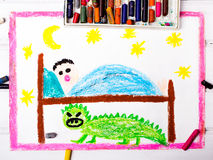 Scary monster under the children's bed Stock Image