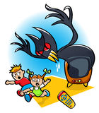 Scary Movie. Vector illustration of two kids running away in fear from a monster coming to real life from a scary movie on TV Stock Photos