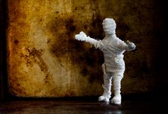 Scary mummy character Halloween background. Copy space Stock Photos