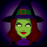 Scary Mysterious Witch Face Stock Photography