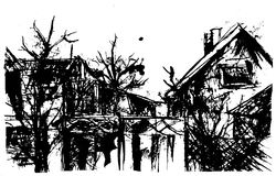Scary neighborhood. Black and white ink illustration of Royalty Free Stock Photo