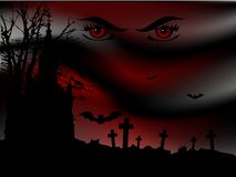 Scary night. Scary bloody night on the graveyard Royalty Free Stock Photography