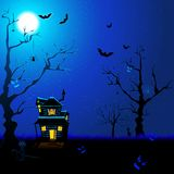 Scary Night. Illustration of haunted house with flying bat and cat in scary night Stock Illustration
