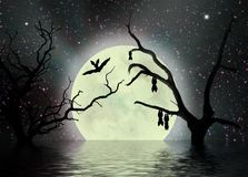 Scary night, fantasy background. A fantasy background full of bats, with moon and dead trees reflecting in the water, perfect as a Halloween scene Stock Image
