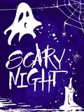Scary Night Halloween card. Handwritten modern calligraphy, vector illustration. Template for banners, posters, merchandising, cards or photo overlays Royalty Free Stock Image