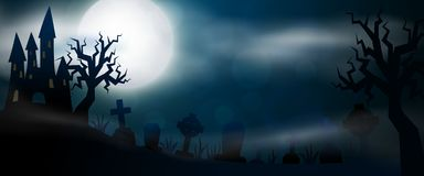 Scary night Halloween illustrationl. Night cemetery, crosses, tombstones and graves horizontal banner. Colorful scary Halloween illustration. Vector Stock Photography