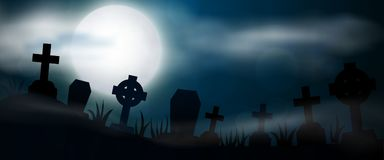 Scary night Halloween illustrationl. Night cemetery, crosses, tombstones and graves, horizontal banner. Colorful scary Halloween illustration. Vector Royalty Free Stock Photos