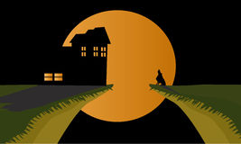 Scary night on the hallowen. Very scary night on hallowen day there a house and a wolf at that moment Stock Photos