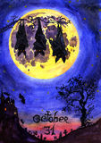 Scary night landscape with bats, castle, cemetery, old tree and the full moon 'October 31'. Hand Painted Watercolor Illustration Isolated: Scary night landscape Royalty Free Stock Photo