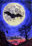 Scary night landscape with bats, castle, cemetery, old tree and the full moon 'October 31'. Hand Painted Watercolor Illustration : Scary night landscape with Stock Photo