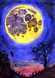 Scary night landscape with a castle, cemetery, old tree and the full moon. Hand Painted Watercolor Illustration Isolated: Scary night landscape with a castle Stock Photo