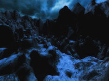 Scary night scene. 3D illustration of a scary night scene with dark mountains, moonlight and snow Stock Image
