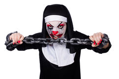 The scary nun in halloween concept Stock Images