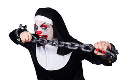 The scary nun in halloween concept Stock Image