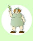 Scary nurse. Funny cartoon nurse holding a syringe Stock Photography