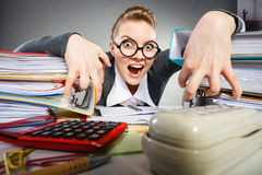 Scary office lady in her kingdom. Stock Image