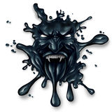 Scary Oil Spill. Splash as petroleum leaking with a monster face as a symbol for fossil fuel and crude energy fear concept on a white background royalty free illustration