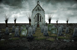 Scary old cemetery.  church on grave. Halloween concept. 3d rendering Stock Image