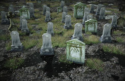 Scary old cemetery.  church on grave. Halloween concept. 3d rendering Royalty Free Stock Photos