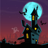 Scary old ghost house. Halloween cardposter. Vector illustration Stock Images